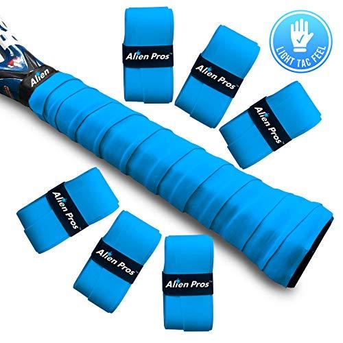 Alien Pros Tennis Racket Grip Tape (6 Grips) - Precut and Light Tac Feel Tennis Grip - Tennis Overgrip Grip Tape Tennis Racket - Wrap Your Racquet for High Performance (6 Grips, Blue)