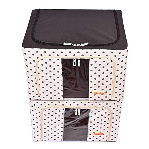 (Stackable Storage Box Polka Dots Oxford Cloth Steel Frame Shelf Quilt Clothing Blanket Pillow Shoe Holder Container Organizer See-Through Window Double Zipper Folding (2 Pack x 66L))