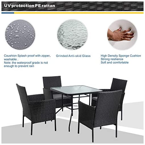 Garden and Outdoor Walsunny 5-Piece Indoor Outdoor Wicker Dining Set Furniture,Square Tempered Glass Top Table with Umbrella Hole,4 Chairs… patio dining sets