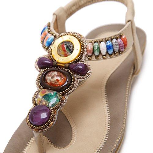 Women Sandals Flats Beige Comfortable Multicoloured Beach Sandals Beads Sole Bohemian Elastic BIGTREE Soft Thong wpdSEAwx