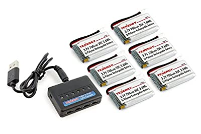 Combo: T453 Charger for 3.7V Lithium RC Battery and 6pcs 3.7V 700mAh LiPO Batteries (Compatible with Syma X5, X5C, X5SC, X5SW and Cheerson CX-30W)