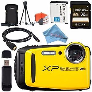 Fujifilm FinePix XP120 Digital Camera (Yellow) 16544125 + Fujifilm XP Series Digital Camera Standard Accessory Kit + Sony 32GB SDHC Card + EN-EL10 Lithium Ion Battery + Card Reader + Fibercloth Bundle