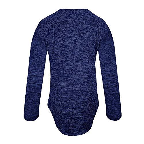 V Vtement Mode Shirt Blouse SANFASHION Bleu Casual Zippe Col Manche Tunique Longue 1IUxFq