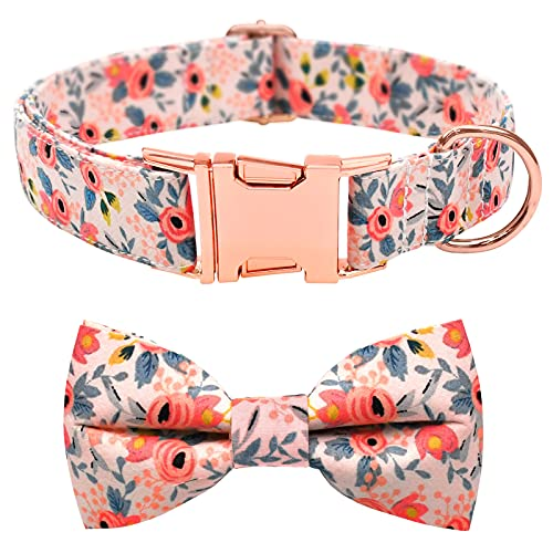 Malier Dog Collar with Bow tie, Cute Pattern Dog Collar with Hardware Buckle Adjustable Collar for Small Medium Large…