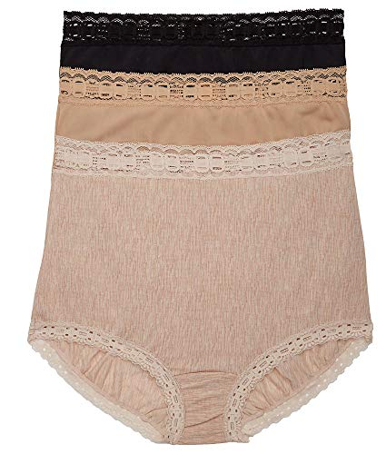 Olga Women's Secret Hugs 3 Pack Brief Panty, Black/French Toast/White, M