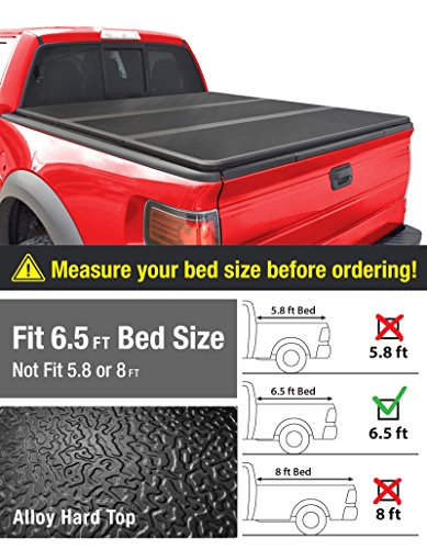 Alloy Tri-Fold Hard Top Truck Bed Tonneau Cover for 2014-2019 Chevy Silverado / GMC Sierra 1500; 2015-2018 Silverado Sierra 2500 3500 HD | Fleetside 6.5 Bed | For models w/o Utility Track System