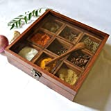 Crafts'man PREMIUM QUALITY Wooden Spice rack Container/spice Box/spice Rack with Spoon