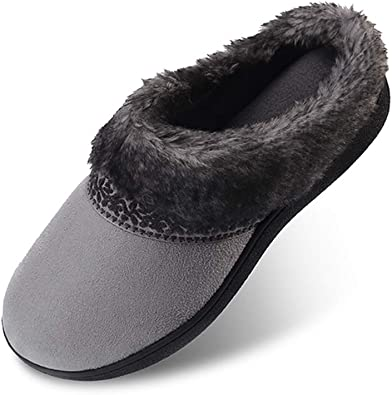 Ladies Womens Memory Foam Slippers House Shoes Anti Slip Sole Soft size 8