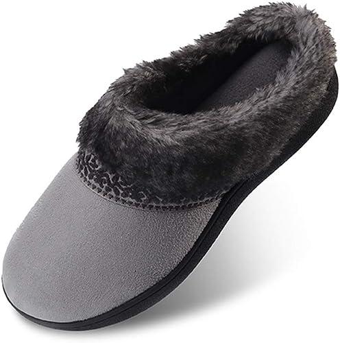 Amazon Com Women S Memory Foam Slippers Non Slip Soft Plush