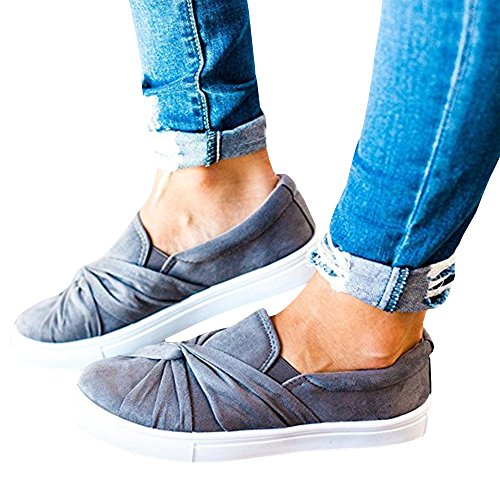 Umeko Damen Slip on Schuhe Top Knot Sneakers Breites Comfortble Fashion Sneaker Grau