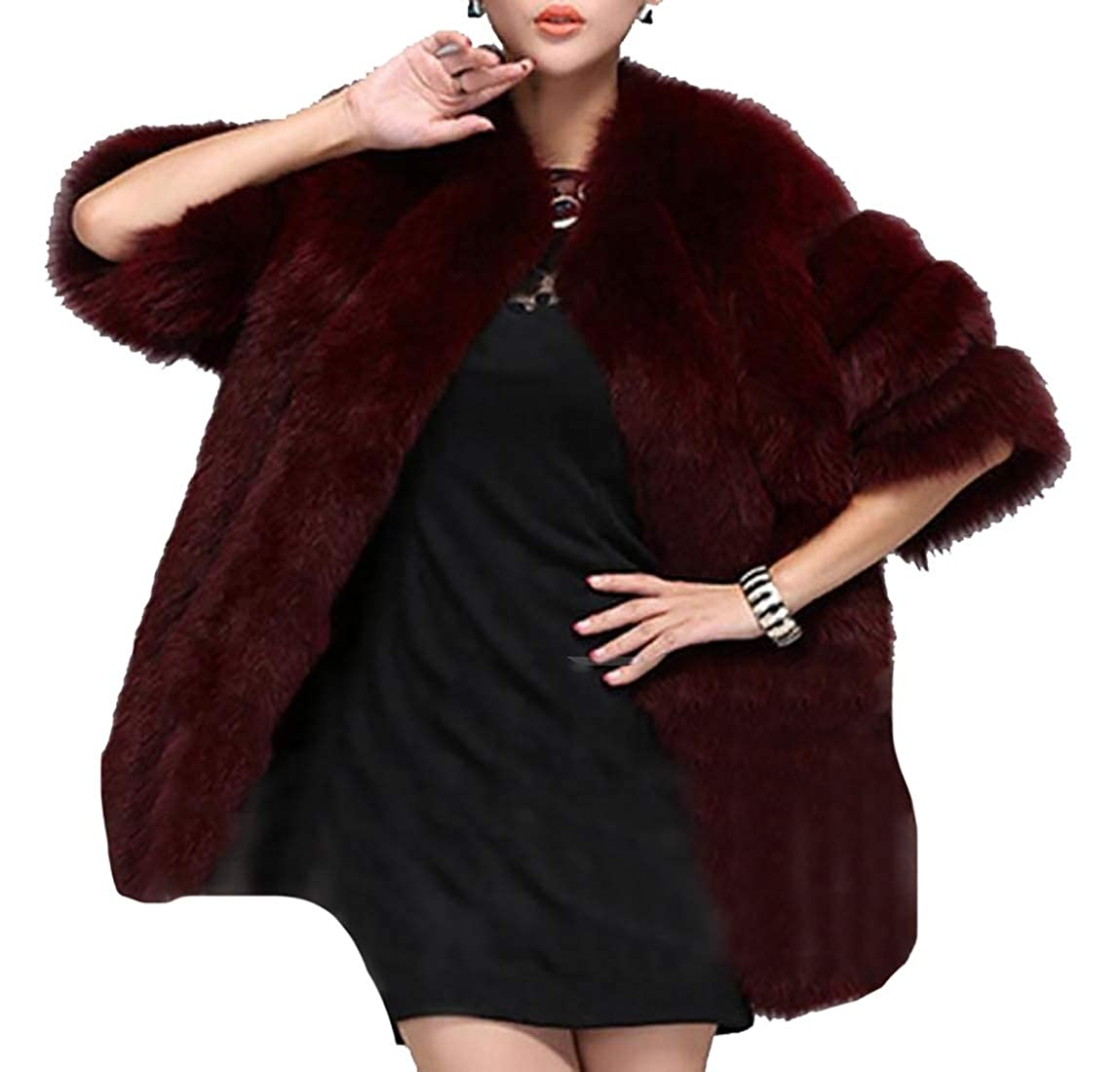 1 jxfd Women Warm Winter Long Sleeve Front Open Short Faux Fur Cardigan Jacket