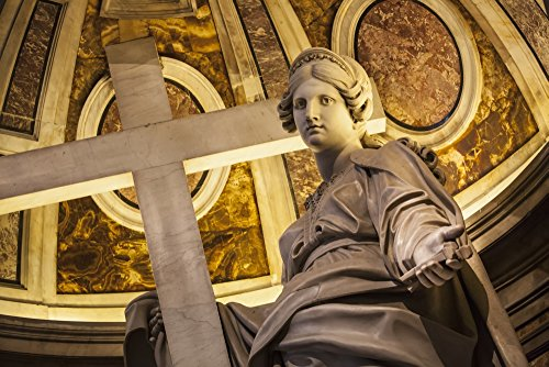 (Posterazzi Statue of Saint Helena with a cross St. Peter's Basilica; Rome Italy Poster Print (19 x 12))