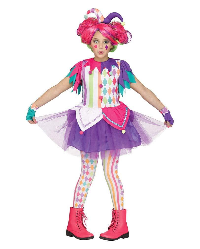 Horror-Shop Buntes Regenbogen Harlekin Clown Kinderkostüm-Kleid für Mädchen M