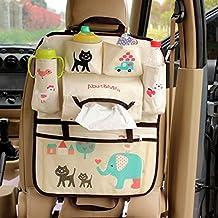 Vine Backseat and Puschair Organizer for Kids Car Back Seat Organizer Hanging Storage Bag Multifunctional Pockets (Cat)