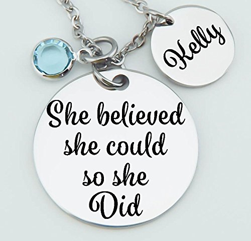 Personalized Inspirational Pendant Necklace, Graduation ,Customized, She Believed She Could So She Did, Daughter, Stainless Steel