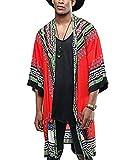COOFANDY Mens African Dashiki Print Ruffle Shawl Collar Cardigan Lightweight Long Length Drape Cape (Large, Orange