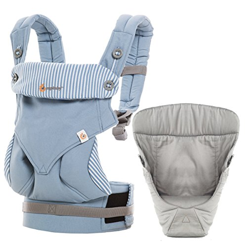 Ergobaby 4 Position 360 Carrier, Azure Blue with Easy Snug Infant Insert, Grey