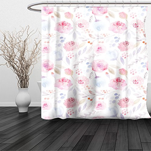 HAIXIA Shower Curtain Watercolor Delicate Spring Pattern Blooming Roses Buds Leaves Feminine Romantic Light Pink Baby Blue