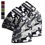Zealspot Knee Wraps(Pair) Compression & Elastic Support for Cross Training,WODs,Gym, Workout,Weightlifting,Fitness & Powerlifting - Best Knee Straps for Squats -for Men & Women- 72' (Camo(Pair))