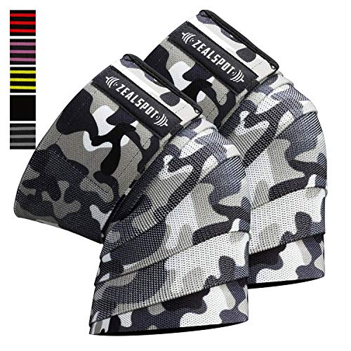 Powerlifting For Weightlifting WODs /& Gym Workout Camo//White 1 Pair Knee Straps for Squats - 80 Elastic Knee and Elbow Support /& Compression Knee Wraps Fitness
