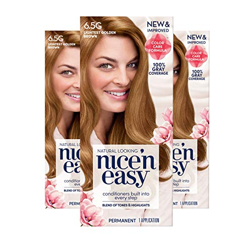 Clairol Nice 'n Easy Permanent Hair Color, 6.5G Lightest Golden Brown, 3 Count (Packaging May Vary)