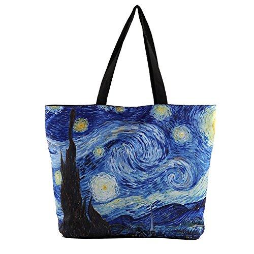 Vintga Large Van Gogh Galaxy Printed Design Ladies Zipper Shoulder Shopping Women Handbags Tote Bags