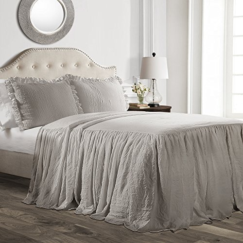 Lush Décor Ruffle Skirt Bedspread Gray Shabby Chic Farmhouse Style Lightweight 3 Piece Set, Queen, (Bedroom Beautiful Set)