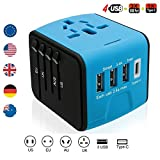 Lightbeam Worldwide Universal Travel Plug Adapter with 3 USB, 1 Type C and 1 Universal AC Socket, International Wall Charger Power Adapter for Europe, UK, US, AUS, Asia (Over 150 Countries), (Blue)