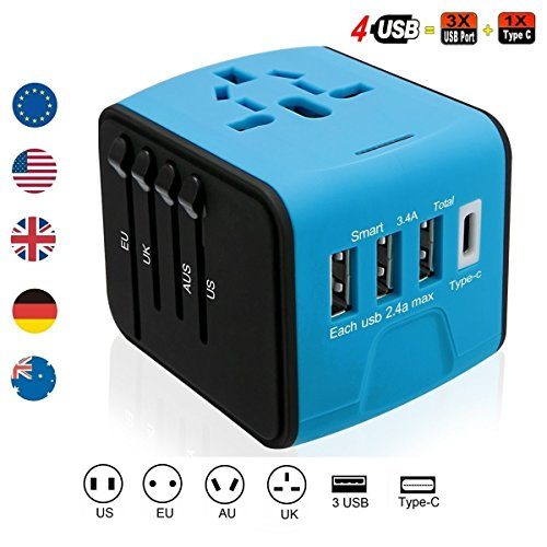 Lightbeam Worldwide Universal Travel Plug Adapter with 3 USB, 1 Type C and 1 Universal AC Socket, International Wall Charger Power Adapter for Europe, UK, US, AUS, Asia (Over 150 Countries), (Blue) by Lightbeam