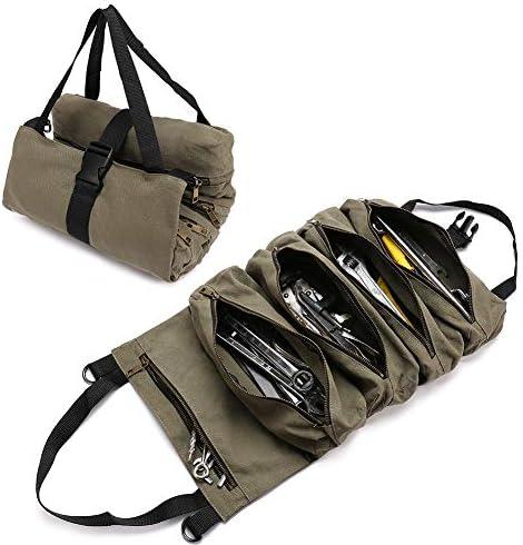QEES ツールバッグ スーパーツールロール 工具差し入れバッグ 5つポケット 道具袋 金属ファスナー 折りたたみ可能 オックスフォード布製 防水 耐久性 (オリーブ)