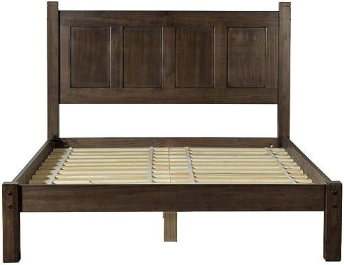 Grain Wood Furniture Shaker Panel Queen Solid Wood Platform Bed Espresso Espresso