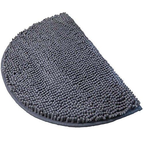 Mini Bath Mat - Half Moon Chenille Large Doormat,DreamInn Bedroom Bathroom Non-Slip Door Mat, 18-inch by 30-inch (Gray)