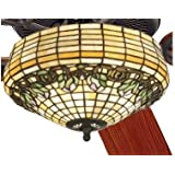 """52"""" Raised Tulip Tiffany Stained Glass Ceiling Fan"""