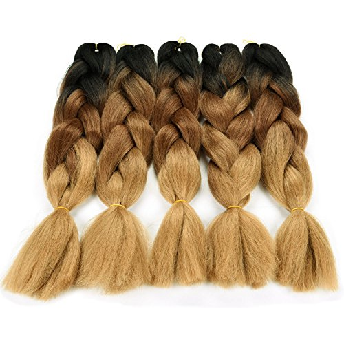 "Silike Ombre Jumbo Braid Crochet Hair (5 Pieces) 3 Tone 24"" Afro Braids Crochet Braiding Hair Extensions (Black/Brown/Light Brown)"