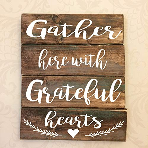 Gather Here with Grateful Hearts Rustic Wooden Sign Review