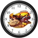 Spanish Icons: Bull Fighting, Flamenco Dancing, Citrus Fruit, Guitar - Spain Theme Wall Clock by WatchBuddy Timepieces (White Frame)