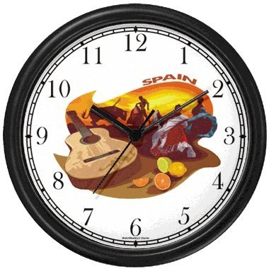 Spanish Icons: Bull Fighting, Flamenco Dancing, Citrus Fruit, Guitar - Spain Theme Wall Clock by WatchBuddy Timepieces (White Frame) by WatchBuddy