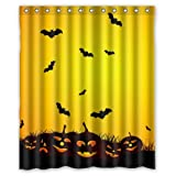 60''(W) x 72''(H) 100% Polyester Halloween Pumpkin Lamp And Bat Waterproof Bath Curtain