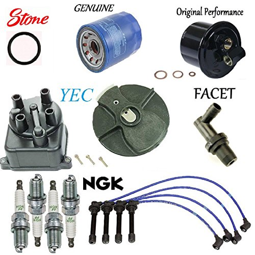 Tune-Up Kit Cap Rotor Wires Plugs PCV for Honda Civic CX; DX; EX; LX; 1.6L (Rotor O-ring)
