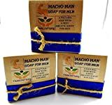 Macho Man Soap For Men Comes In Gift Box Handmade With Natural Ingredients Like Coconut Oil and Kaolin Clay (3 Pack)