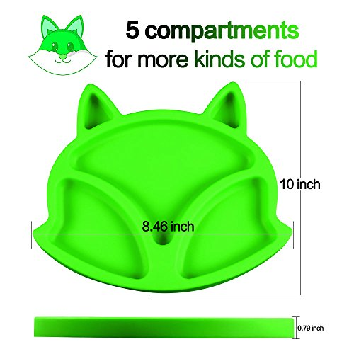 SJ Baby Placemat Fox Silicone Placemat Feeding Plate for Children, Kids, Toddlers, Non-Slip Baby Plates, Dishwasher and Microwave Safe - Soft FDA/LFGB Certified Silicone (Green) by SJ (Image #1)