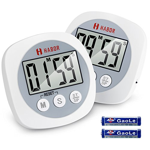 Habor Digital Kitchen Timer, (2 Pack) Cooking Timers Big Digits Loud Alarm Magnetic Backing Stand Simple Operation, Count Up/Down Timer For Cooking Baking Exercise Beauty White/Grey (Battery - Black Sale What Is Friday