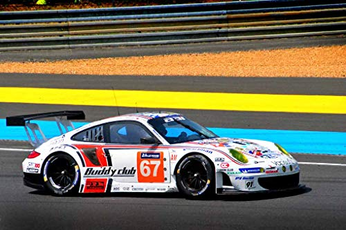 Andrew Evans Photos Porsche 911 GT3 RSR No67 Photograph Racing at 24 Hours of Le Mans Race 2015 France Landscape Photo Color Picture Art Print Or Poster (24