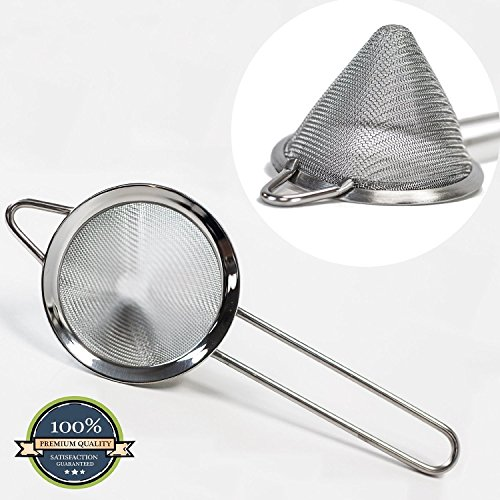 HUJI Stainless Steel Fine Mesh Conical 3 Inch Strainer Colander Sieve Sifter with Handle for Kitchen Food Rice Pasta (3