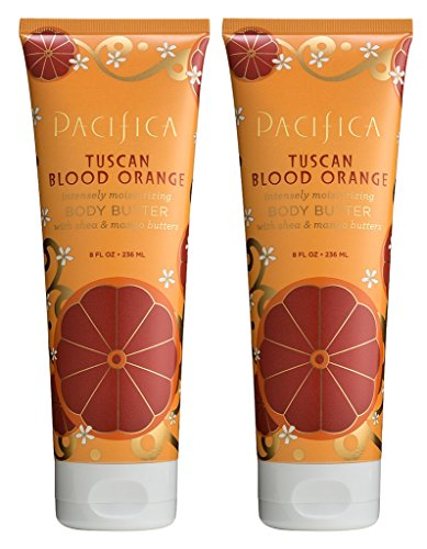 La Natura Juicy Shea Butter - Pacifica Tuscan Blood Orange Body Butter (Pack of 2) with Shea Butter, Jojoba Seed Oil, Cocoa Butter, Flax Seed Oil, Kukui Nut Oil and Vitamin E, 100% Vegan and Cruelty-Free, 8 oz