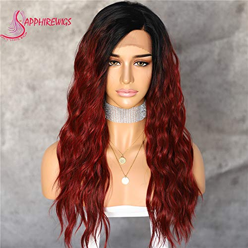 Sapphirewigs Color #4 Ombre Brown/Red Light Yaki Blogger Daily Makeup Wedding Hair Synthetic Lace Front Wigs For Black Girls (Ombre Red) -