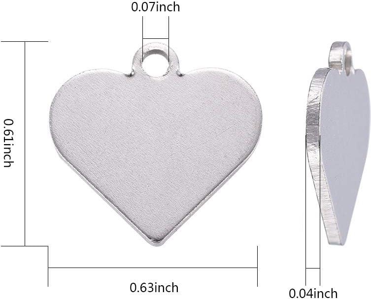 per collane 15,5 x 16 x 1 mm 20 ciondoli a forma di cuore in acciaio inox 304 braccialetti DanLingJewelry