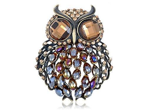 [Alilang Brass Tone Light Brown Iridescent Rhinestones Big Eyed Fat Owl Brooch Pin] (Fat Lady Costumes)