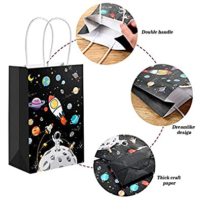 12 Pack Outer Space Gift Bags Kids Treat Bags with Handles Planet Galaxy Party Favor Goodie Bags Paper Treat Bags for Kids Birthday Space Theme Party Supplies: Toys & Games
