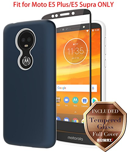 Moto E5 Plus Case, Moto E5 Supra Case with Aoways Tempered Glass Screen Protector, Anti-Slip Hard Back Cover + Soft TPU Shockproof Inner Protective Case for Motorola Moto E5 Plus - Blue